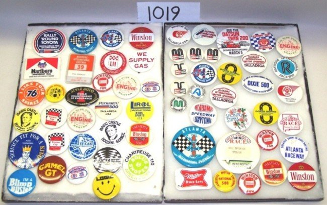 1019: ***TWO GROUPS RACING-RELATED METAL BUTTONS