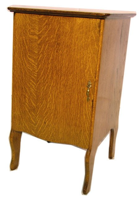 2074: OAK CYLINDER PHONOGRAPH RECORD CABINET| Four draw
