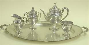 FIVE PIECE AMERICAN STERLING SILVER TEA