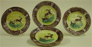 FOUR MAJOLICA PLATES Stag and hound pa