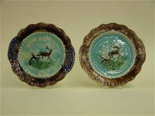 TWO LARGE MAJOLICA PLATES Stag and hou