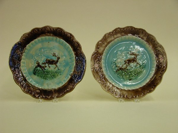 1017: TWO LARGE MAJOLICA PLATES  Stag and hou