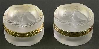 1044: PAIR OF LALIQUE ART GLASS DRESSER BOXES
