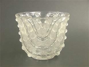 """LALIQUE ART GLASS VASE """"Vichy"""" pattern"""