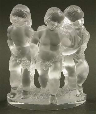 """LALIQUE ART GLASS FIGURAL GROUP """"Luxem"""