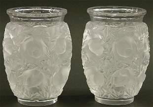 "PAIR OF LALIQUE ART GLASS VASES ""Bagat"