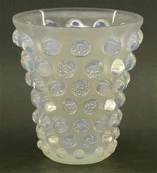 "R. LALIQUE ART GLASS VASE ""Bammako"" pa"