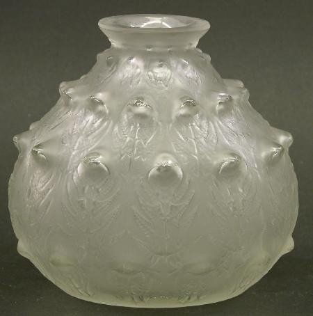 """R. LALIQUE ART GLASS VASE """"Dordogne"""" p"""