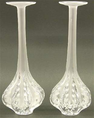 "PAIR OF LALIQUE ART GLASS VASES ""Dampi"