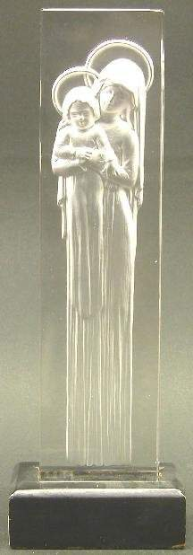 "LALIQUE ART GLASS FIGURAL GROUP ""Vierg"