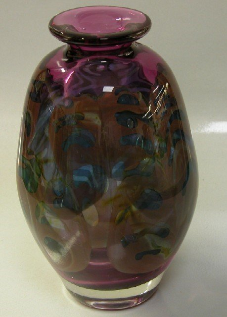 3009: CONTEMPORARY ART GLASS VASE Amethyst color with