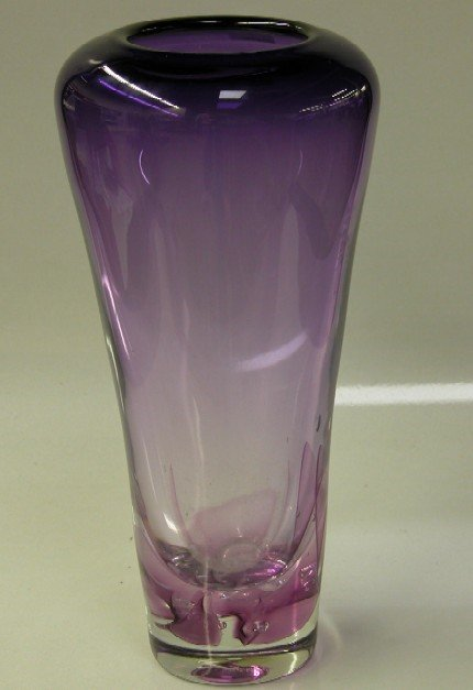 3010: AMETHYST COLORED ART GLASS VASE Indistinct engra