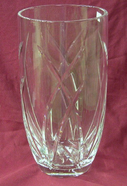 3017: WATERFORD CUT GLASS VASE Marked on bottom John R