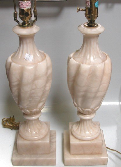 3023: PAIR OF CARVED ALABASTER TABLE LAMPS Complete wi