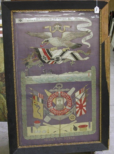 3039: FRAMED GERMAN NAVAL COMMEMORATIVE EMBROIDERY For