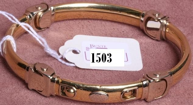 1503: ***BARAKA 18K YELLOW AND WHITE GOLD BRACELET
