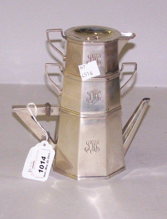 1014: STERLING SILVER STACKING COFFEE SERVER