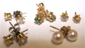 1604 FIVE PAIR OF STUD EARRINGS