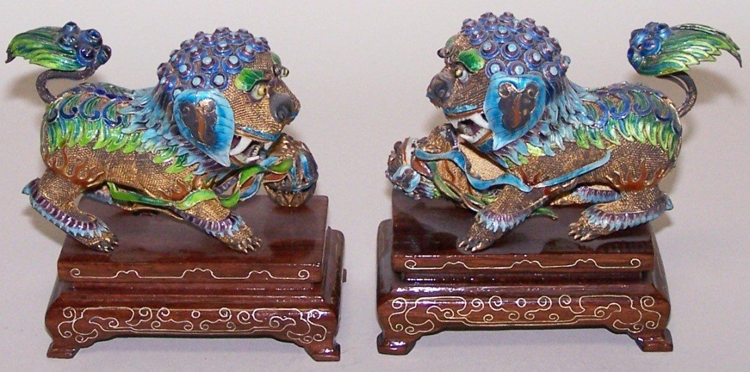 1004: ***PAIR OF CHINESE GILT SILVER AND ENAMELED FOO D