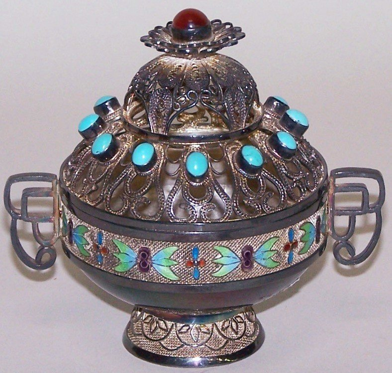 1005: ***CHINESE SILVER INCENSE BURNER