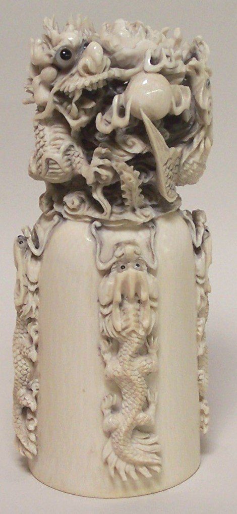 1013: ***CHINESE CARVED IVORY DRAGON SEAL