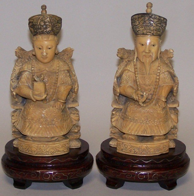 1015: ***PAIR OF CHINESE CARVED IVORY FIGURES