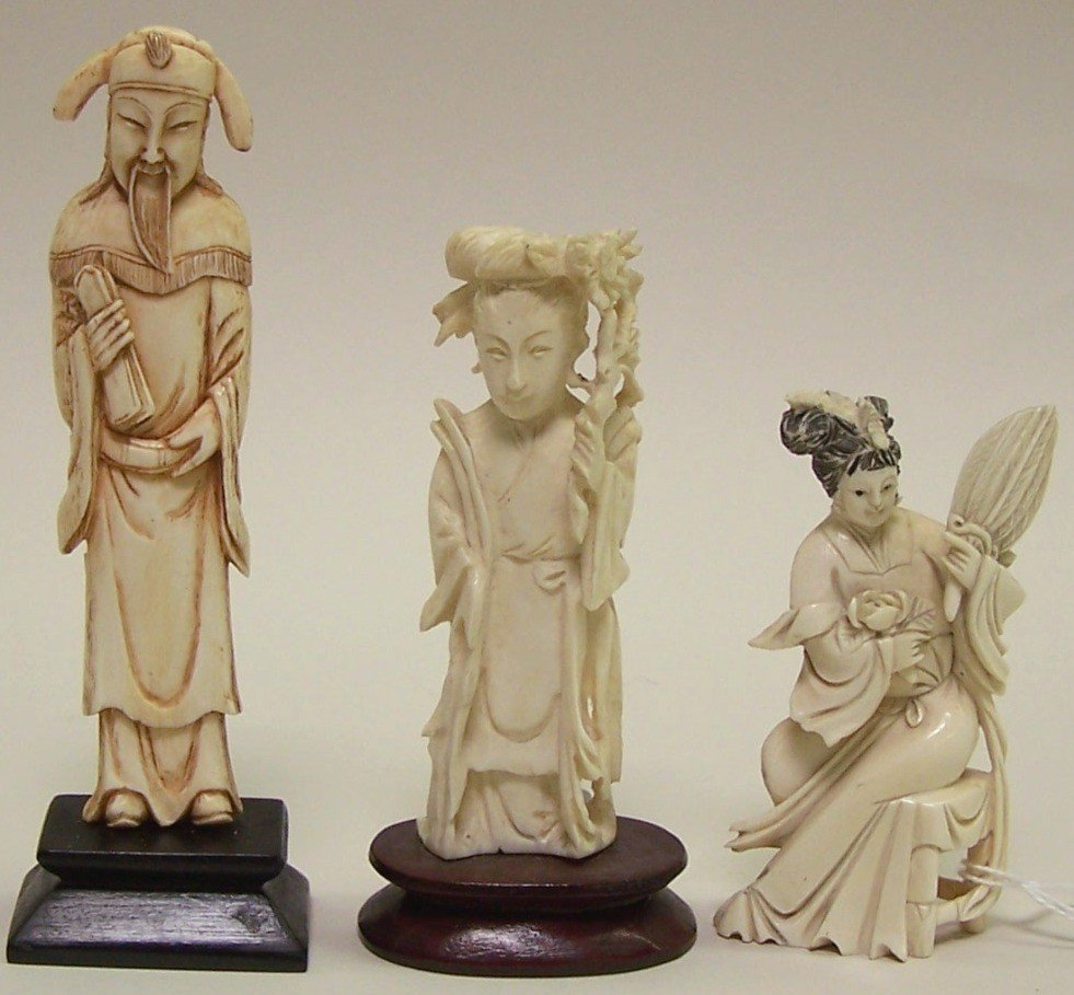 1020: ***THREE CHINESE CARVED IVORY FIGURES
