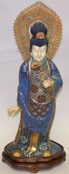 1023: ***CHINESE CLOISONNE AND IVORY FIGURE