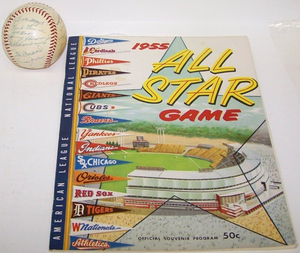 2201: 1955 ALL-STAR GAME AUTOGRAPHED BASEBALL