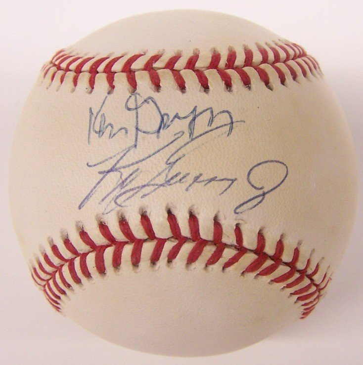 2222: ***KEN GRIFFEY AND JUNIOR AUTOGRAPHED BASEBALL