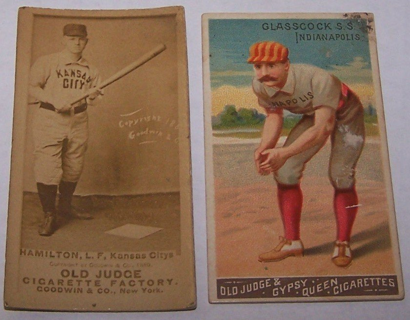 2205B: ***TWO 19TH CENTURY CIGARETTE BASEBALL CARDS