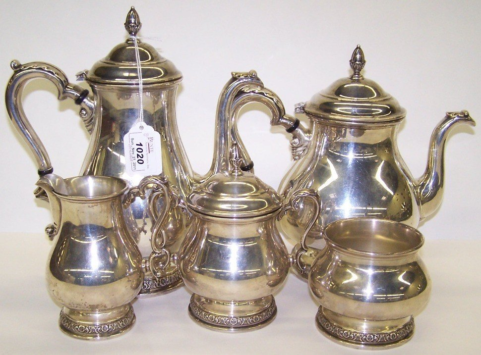 1020: ***STERLING SILVER 5 PIECE TEA & COFFEE SERVICE