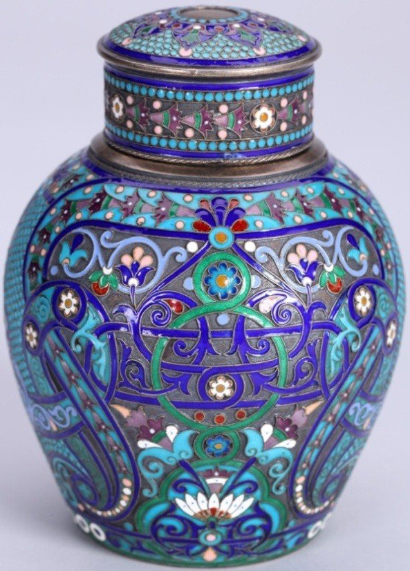 1026: ***RUSSIAN SILVER AND ENAMEL TEA CADDY