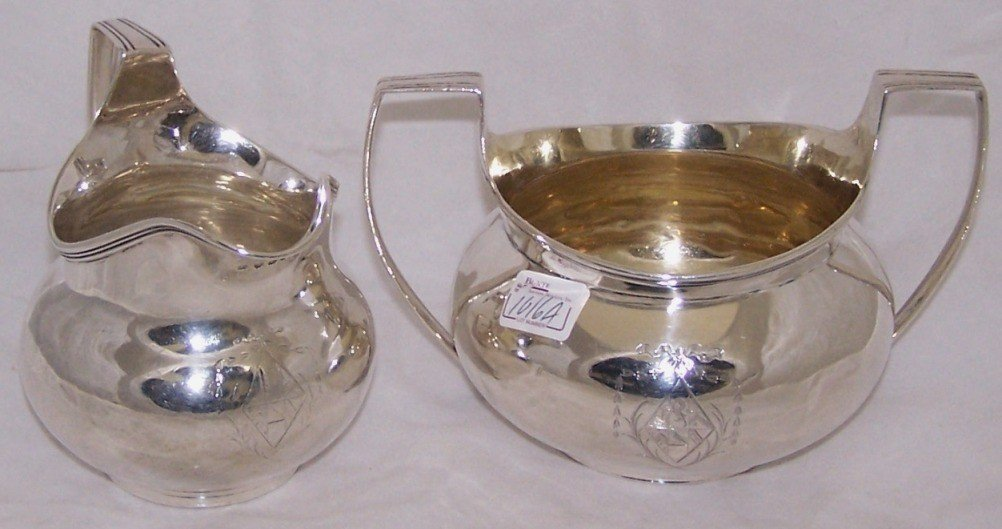 1016A: ***ENGLISH STERLING SILVER CREAMER AND SUGAR