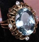 1294 LADYS 14K YELLOW GOLD AQUAMARINE  DIAMOND