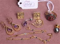 1324 GROUP OF 14K YELLOW GOLD JEWELRY