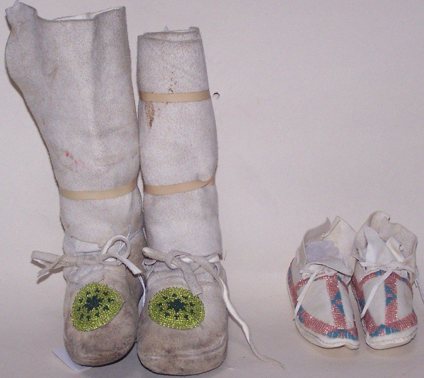 44: ***TWO PAIR BEADED CHILD'S MOCCASINS