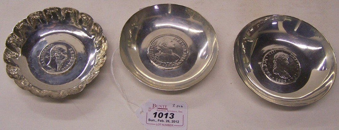 1013: THREE SILVER SHALLOW DISHES| 2 Set with Spanish s
