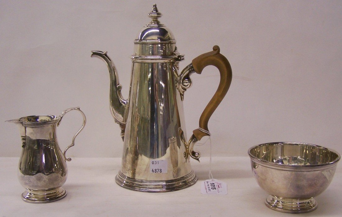 1015: PETER GUILLE STERLING SILVER THREE PIECE COFFEE S