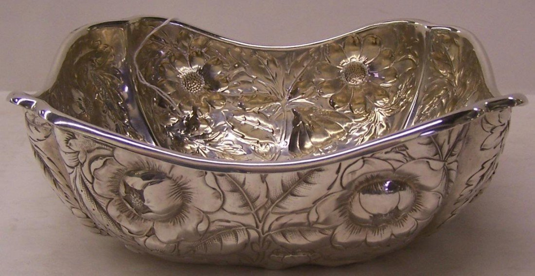 1020: ***GORHAM STERLING SILVER BOWL| Having repousse f