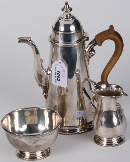 1002: ***PETER GUILLE STERLING SILVER THREE PIECE COFFE