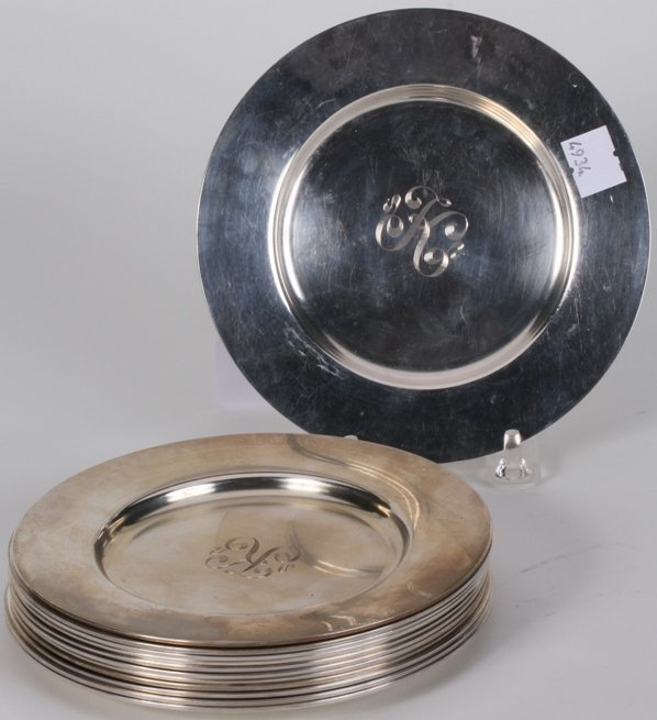 1005: ***TWELVE TOWLE STERLING SILVER LUNCHEON PLATES