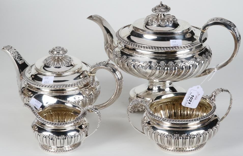 1021: ***ENGLISH 4 PIECE STERLING SILVER TEA & COFFEE S