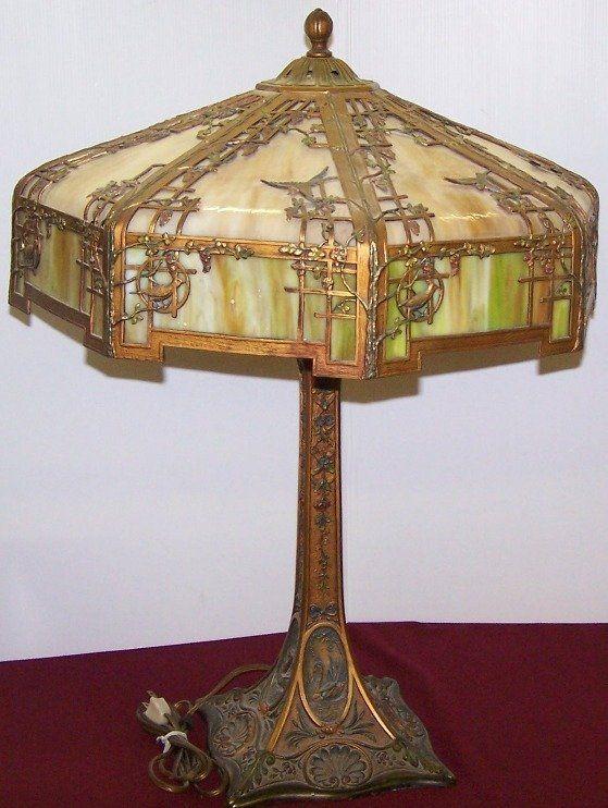 ***ART NOUVEAU SLAG GLASS TABLE LAMP