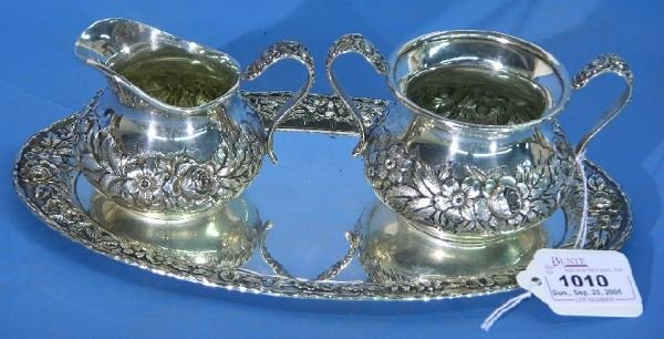 1010: S. KIRK & SON STERLING SILVER CREAMER AND SUGAR|