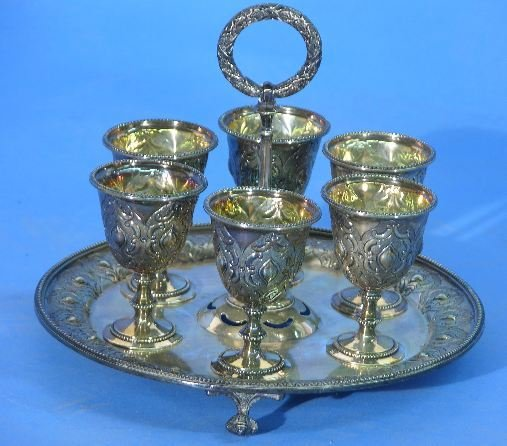 1017: VICTORIAN SILVERPLATE EGG CUPS ON STAND| Manufac