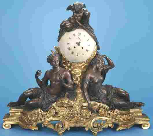 1123: 19TH CENTURY LOUIS XV STYLE GILT AND PATINATED BR