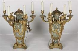 PAIR OF LOUIS XVI STYLE GILT BRONZE LAMPS