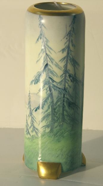 4: PICKARD PORCELAIN THREE FOOTED SCENIC VASE