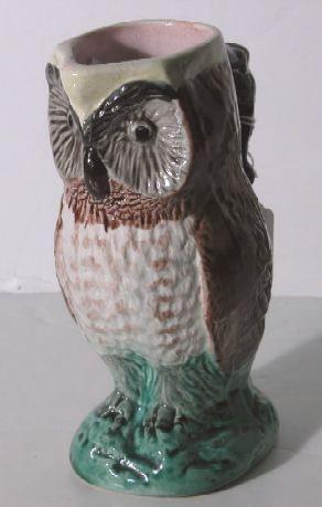 MAJOLICA OWL FORM PITCHER